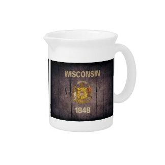 Bandera de madera rugosa de Wisconsin Jarra Para Bebida