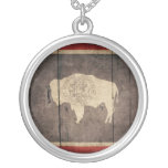Bandera de madera rugosa de Wyoming Pendientes Personalizados