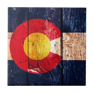 Bandera de madera rústica apenada del estado de azulejo cuadrado pequeño