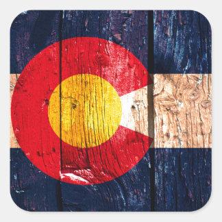 Bandera de madera rústica apenada del estado de pegatina cuadrada
