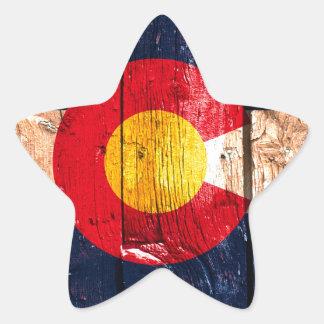 Bandera de madera rústica apenada del estado de pegatina en forma de estrella