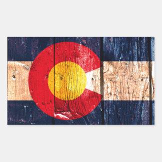 Bandera de madera rústica apenada del estado de pegatina rectangular