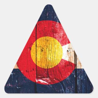 Bandera de madera rústica apenada del estado de pegatina triangular