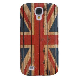 Bandera de madera rústica de Reino Unido Funda Para Galaxy S4
