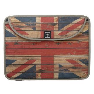 Bandera de madera rústica de Reino Unido Fundas Macbook Pro