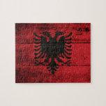 Bandera de madera vieja de Albania Puzzles Con Fotos