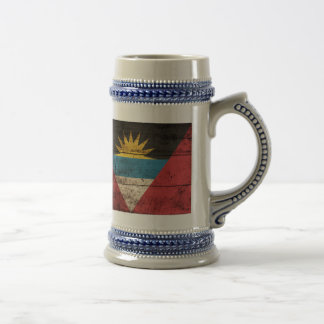 Bandera de madera vieja de Antigua y de Barbuda Taza