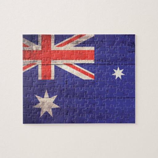 Bandera de madera vieja de Australia Puzzles Con Fotos