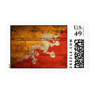 Bandera de madera vieja de Bhután Franqueo