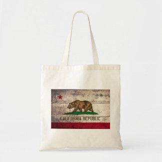 Bandera de madera vieja de California Bolsa Tela Barata