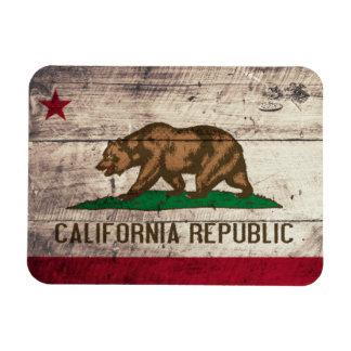 Bandera de madera vieja de California Imanes