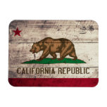 Bandera de madera vieja de California Imán