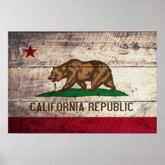 Bandera de madera vieja de California Impresiones