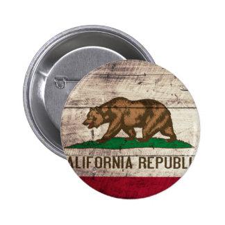 Bandera de madera vieja de California Pin Redondo De 2 Pulgadas