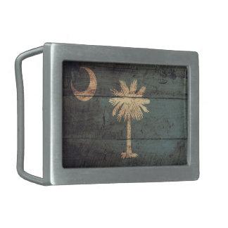 Bandera de madera vieja de Carolina del Sur; Hebilla De Cinturon Rectangular