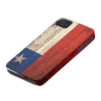 Bandera de madera vieja de Chile Case-Mate iPhone 4 Cárcasas