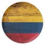 Bandera de madera vieja de Colombia Plato De Cena