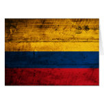 Bandera de madera vieja de Colombia Tarjeta Pequeña