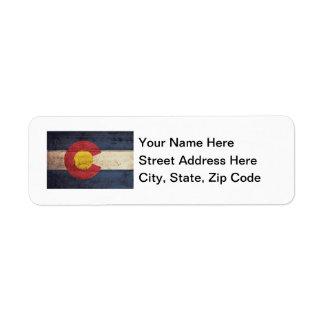 Bandera de madera vieja de Colorado Etiquetas De Remite