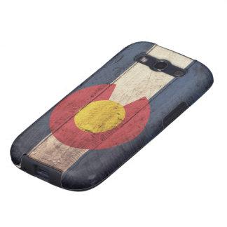 Bandera de madera vieja de Colorado Galaxy S3 Carcasas