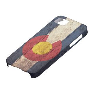Bandera de madera vieja de Colorado iPhone 5 Cárcasas