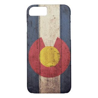 Bandera de madera vieja de Colorado Funda iPhone 7