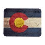 Bandera de madera vieja de Colorado Imán