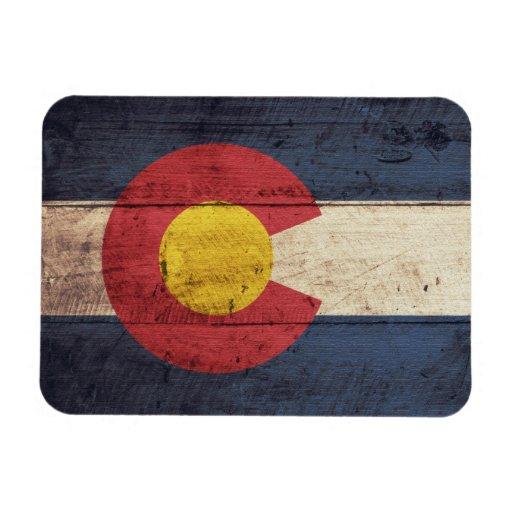 Bandera de madera vieja de Colorado Iman