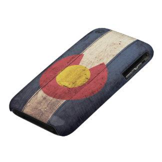 Bandera de madera vieja de Colorado iPhone 3 Cárcasas