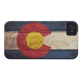 Bandera de madera vieja de Colorado iPhone 4 Case-Mate Cárcasas