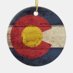 Bandera de madera vieja de Colorado Ornatos