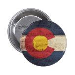Bandera de madera vieja de Colorado Pin Redondo 5 Cm