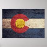 Bandera de madera vieja de Colorado Poster