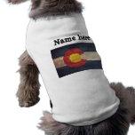 Bandera de madera vieja de Colorado Camisas De Mascota