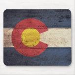Bandera de madera vieja de Colorado Tapete De Raton
