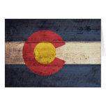 Bandera de madera vieja de Colorado Tarjeta