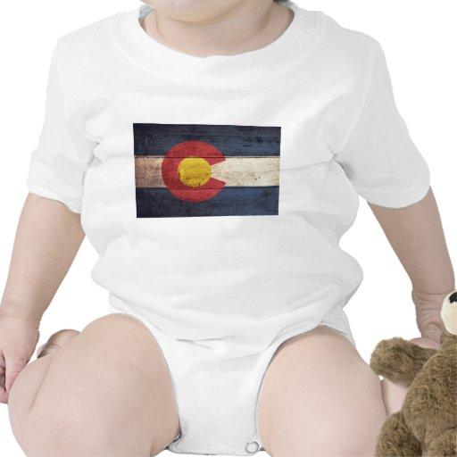 Bandera de madera vieja de Colorado Trajes De Bebé