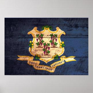 Bandera de madera vieja de Connecticut Posters