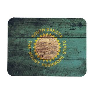 Bandera de madera vieja de Dakota del Sur Rectangle Magnet