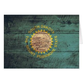 Bandera de madera vieja de Dakota del Sur Tarjeta Pequeña