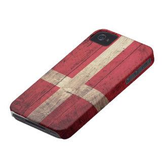 Bandera de madera vieja de Dinamarca Case-Mate iPhone 4 Cárcasas