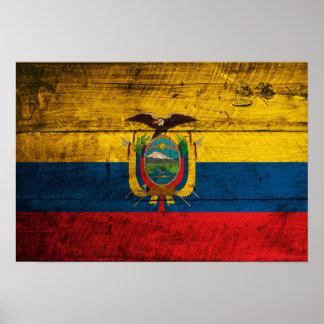 Bandera de madera vieja de Ecuador Poster