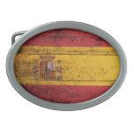 Bandera de madera vieja de España Hebillas De Cinturon Ovales