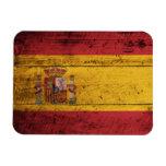 Bandera de madera vieja de España Imán