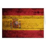 Bandera de madera vieja de España Tarjeta Pequeña