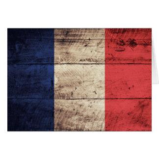 Bandera de madera vieja de Francia Tarjeta Pequeña