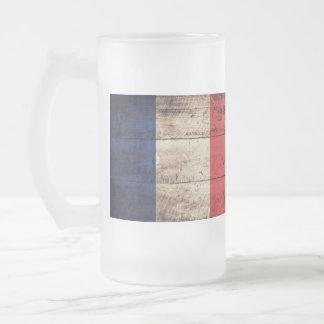 Bandera de madera vieja de Francia; Taza Cristal Mate