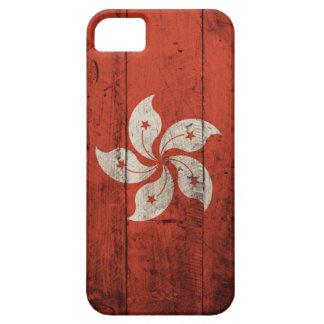 Bandera de madera vieja de Hong Kong iPhone 5 Case-Mate Coberturas