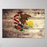 Bandera de madera vieja de Illinois; Impresiones