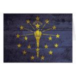 Bandera de madera vieja de Indiana Tarjeton